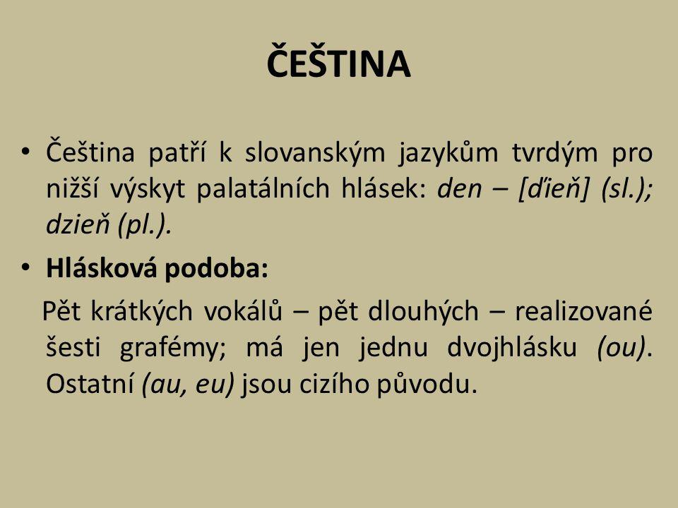 ČEŠTINA Čeština patří k slovanským jazykům tvrdým pro nižší výskyt palatálních hlásek: den – [ďieň] (sl.); dzieň (pl.).